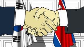 Бизнесмены или политики трясут руки против флагов Кореи и Северной Кореи Связанные официальное заседание или сотрудничество бесплатная иллюстрация