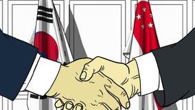 Бизнесмены или политики трясут руки против флагов Кореи и Сингапура Связанные официальное заседание или сотрудничество иллюстрация штока