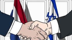 Бизнесмены или политики трясут руки против флагов Нидерландов и Израиля Связанные официальное заседание или сотрудничество иллюстрация вектора