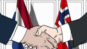 Бизнесмены или политики трясут руки против флагов Нидерландов и Норвегии Связанные официальное заседание или сотрудничество иллюстрация вектора