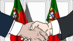 Бизнесмены или политики трясут руки против флагов Португалии Официальное заседание или шарж сотрудничества родственный иллюстрация вектора
