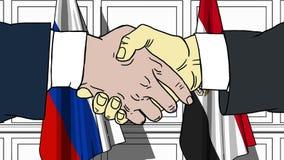 Бизнесмены или политики трясут руки против флагов России и Египта Связанные официальное заседание или сотрудничество бесплатная иллюстрация