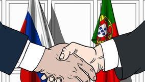 Бизнесмены или политики трясут руки против флагов России и Португалии Связанные официальное заседание или сотрудничество бесплатная иллюстрация