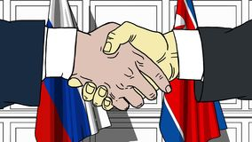 Бизнесмены или политики трясут руки против флагов России и Северной Кореи Связанные официальное заседание или сотрудничество иллюстрация вектора