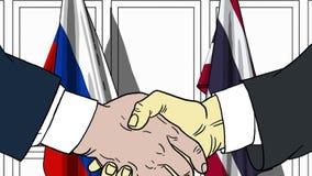 Бизнесмены или политики трясут руки против флагов России и Таиланда Связанные официальное заседание или сотрудничество иллюстрация вектора