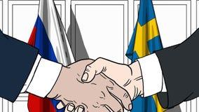 Бизнесмены или политики трясут руки против флагов России и Швеции Связанные официальное заседание или сотрудничество бесплатная иллюстрация