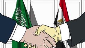 Бизнесмены или политики трясут руки против флагов Саудовской Аравии и Египта Связанные официальное заседание или сотрудничество иллюстрация вектора