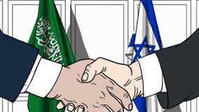 Бизнесмены или политики трясут руки против флагов Саудовской Аравии и Израиля Связанные официальное заседание или сотрудничество иллюстрация штока