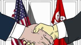 Бизнесмены или политики трясут руки против флагов США и Гонконга Связанные официальное заседание или сотрудничество бесплатная иллюстрация