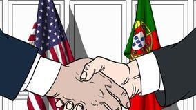 Бизнесмены или политики трясут руки против флагов США и Португалии Связанные официальное заседание или сотрудничество иллюстрация вектора