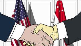 Бизнесмены или политики трясут руки против флагов США и Сингапура Связанные официальное заседание или сотрудничество иллюстрация штока