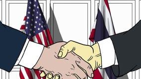 Бизнесмены или политики трясут руки против флагов США и Таиланда Связанные официальное заседание или сотрудничество иллюстрация вектора