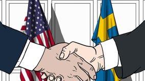 Бизнесмены или политики трясут руки против флагов США и Швеции Официальное заседание или шарж сотрудничества родственный бесплатная иллюстрация