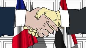 Бизнесмены или политики трясут руки против флагов Франции и Египта Связанные официальное заседание или сотрудничество иллюстрация штока
