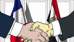 Бизнесмены или политики трясут руки против флагов Франции и Египта Связанные официальное заседание или сотрудничество бесплатная иллюстрация