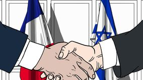 Бизнесмены или политики трясут руки против флагов Франции и Израиля Связанные официальное заседание или сотрудничество иллюстрация штока