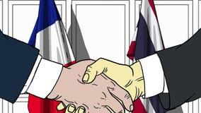 Бизнесмены или политики трясут руки против флагов Франции и Таиланда Связанные официальное заседание или сотрудничество иллюстрация вектора