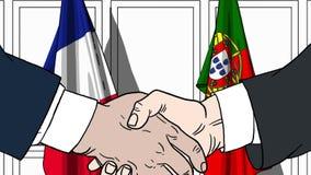 Бизнесмены или политики трясут руки против флагов Франции и Португалии Связанные официальное заседание или сотрудничество иллюстрация штока