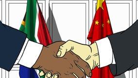 Бизнесмены или политики трясут руки против флагов Южной Африки и Китая Связанные официальное заседание или сотрудничество иллюстрация вектора