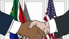 Бизнесмены или политики трясут руки против флагов Южной Африки и США Связанные официальное заседание или сотрудничество бесплатная иллюстрация