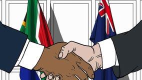 Бизнесмены или политики трясут руки против флагов Южной Африки и Австралии Официальное заседание или сотрудничество иллюстрация вектора