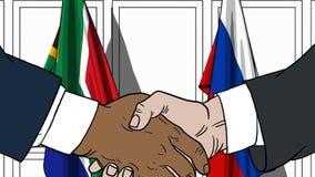 Бизнесмены или политики трясут руки против флагов Южной Африки и России Связанные официальное заседание или сотрудничество иллюстрация вектора