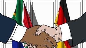 Бизнесмены или политики трясут руки против флагов Южной Африки и Германии Официальное заседание или сотрудничество бесплатная иллюстрация
