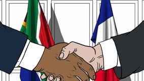 Бизнесмены или политики трясут руки против флагов Южной Африки и Франции Связанные официальное заседание или сотрудничество иллюстрация вектора