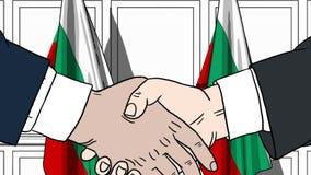 Бизнесмены или политики тряся руки против флагов Болгарии Иллюстрация встречи или мультфильма сотрудничества родственная иллюстрация вектора