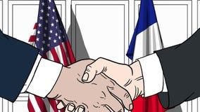 Бизнесмены или политики тряся руки против флагов США и Франции Встреча или шарж сотрудничества родственный иллюстрация штока
