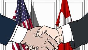 Бизнесмены или политики тряся руки против флагов США и Швейцарии Встреча или шарж сотрудничества родственный иллюстрация вектора