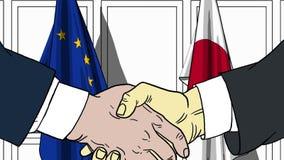 Бизнесмены или политики тряся руки против флагов EC и Японии Встреча или шарж сотрудничества родственный бесплатная иллюстрация