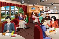 Бизнесмены имея обед совместно иллюстрация штока