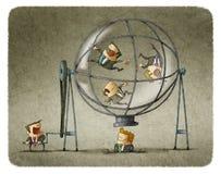 Бизнесмены директора вращая в сфере бесплатная иллюстрация