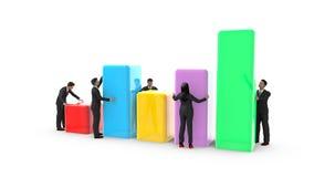 Бизнесмены и женщина устанавливая диаграммы в виде вертикальных полос Стоковое Изображение