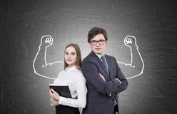Бизнесмены и мышечный эскиз рук Стоковое Изображение RF
