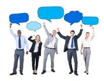Бизнесмены и пустая концепция пузырей речи Стоковое Фото