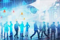 Бизнесмены и социальный контроль средств массовой информации стоковые изображения
