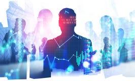 Бизнесмены и цифровой интерфейс стоковые фото