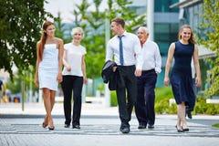 Бизнесмены идя и говоря совместно Стоковое Изображение