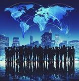 Бизнесмены концепции города глобальной связи корпоративной Стоковое Изображение