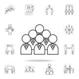 Бизнесмены линии значка Детальный комплект значков плана работы команды Наградной качественный значок графического дизайна Одно и иллюстрация штока