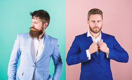Бизнесмены моды и официальный стиль Деловые партнеры с бородатыми сторонами Мужская одежда роскоши моды дела Официальный стоковые изображения