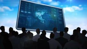 Бизнесмены наблюдая интерфейс данных на афише бесплатная иллюстрация
