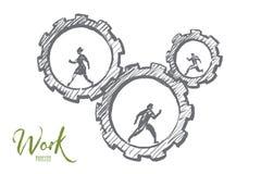 Бизнесмены нарисованные рукой бежать в cogwheels Стоковое Фото