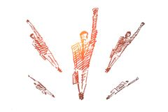 Бизнесмены нарисованные рукой скача вперед иллюстрация вектора