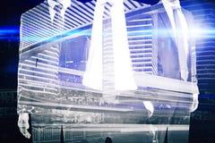 Бизнесмены на абстрактной предпосылке города Стоковые Изображения