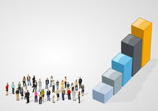 Бизнесмены на диаграмме в виде вертикальных полос Стоковые Фотографии RF