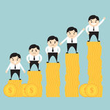 Бизнесмены на растущей диаграмме в виде вертикальных полос монетки Стоковое Фото