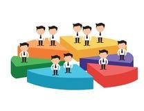 Бизнесмены на частях разницы долевой диограммы концепция недостатка партнерства дела Стоковое Изображение
